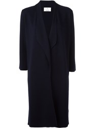Allude Single Breasted Coat Blue