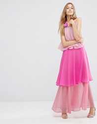 Asos Tiered Colour Block Maxi Dress With Corsage Pink
