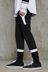 Forever 21 Colorblock Terry Sweatpants Black White