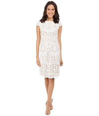 Nue By Shani Embroidered Lace Dress W Piping Detail White Nude Women's Dress