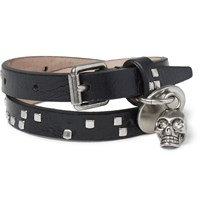 Alexander Mcqueen Leather And Metal Skull Wrap Bracelet Black
