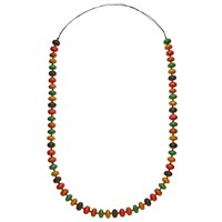 One Button Long Circular Wooden Beads Necklace Multi