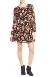 Sun And Shadow Floral Print Open Back Dress Black