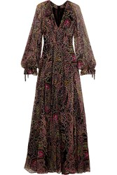 Etro Paisley Print Devore Silk Blend Gown Black