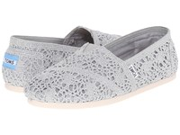 Toms Crochet Classics Silver Crochet Metallic Women's Slip On Shoes White