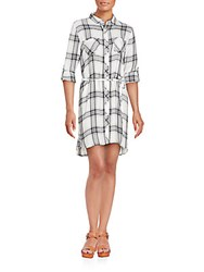 Beach Lunch Lounge Plaid Two Pocket Shirtdress Grey White