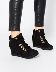 New Look Hiker Wedge Trainers Black