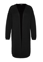 Hallhuber Long Cardigan With Prominent Cross Rib Black