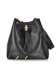 Class Roberto Cavalli Pantera Nera Black Embossed Leather Satchel Bag