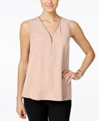 Inc International Concepts Petite Sleeveless Zipper Detail Top Only At Macy's New Pale Blush