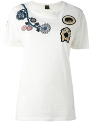 Mr And Mrs Italy Floral Embroidery T Shirt White
