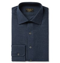 Emma Willis Blue Slim Fit Brushed Cotton Chambray Shirt Blue