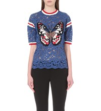 Gucci Butterfly Embroidered Floral Lace T Shirt Blue