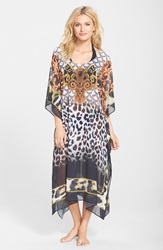 Sealux Animal And Baroque Print Silk Cover Up Online Only Black Golden