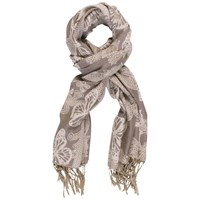 Chesca Jacquard Butterfly Scarf Silver Grey