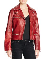 True Religion Leather Moto Jacket Red