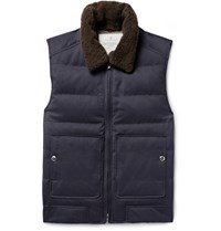 Brunello Cucinelli Shearling Trimmed Quilted Twill Down Gilet Blue