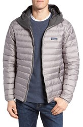 Patagonia Men's Packable Windproof And Water Resistant Goose Down Sweater Hooded Jacket Feather Grey Forge Grey