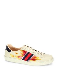 Gucci New Ace Flame Lace Up Sneakers Ivory Multi