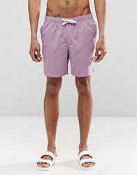 Asos Mid Length Swim Shorts In Purple With Drawcord Detail Purple