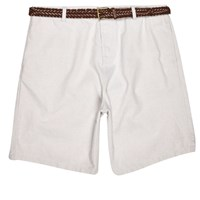 River Island Mens Grey Slim Fit Belted Oxford Shorts