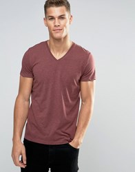 Esprit V Neck T Shirt In Melange Aubergine Purple