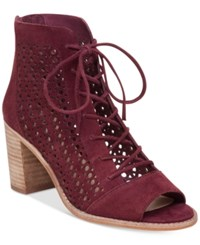 Vince Camuto Trevan Perforated Booties Women's Shoes Deep Sugar Plum