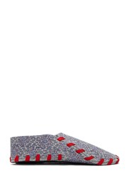 Lasso Square Print Felted Lace Up Slippers Grey