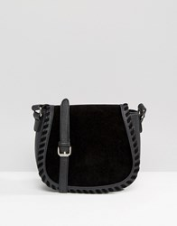French Connection Conection Textured Saddle Cross Body Bag Rose Gold Black