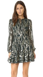 Cynthia Rowley Metallic Boho Dress Forest Green