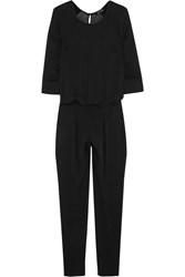 Blk Dnm Satin Trimmed Silk Chiffon Jumpsuit Black