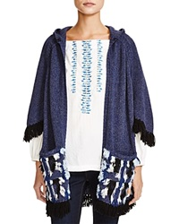 Nanette Lepore Surf's Up Hooded Poncho Cardigan Indigo Multi