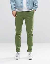 Asos Skinny Chinos In Green Dill