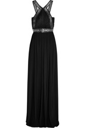 Alexander Wang Eyelet Embellished Leather Trimmed Stretch Crepe Gown Black