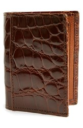 Men's Martin Dingman 'Joseph' Genuine American Alligator Leather Id Wallet Metallic Cognac