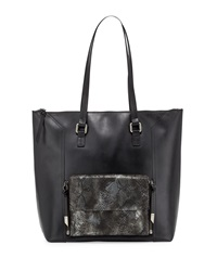 Foley Corinna Gemini Snake Embossed Leather Tote Bag Black Combo
