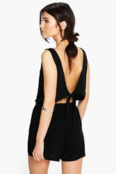 Boohoo Tie Back Relaxed Fit Playsuit Black