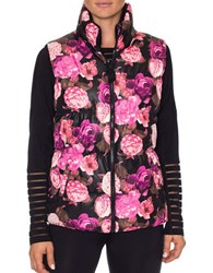 Betsey Johnson Reversible Printed Puffer Vest Dramatic Floral