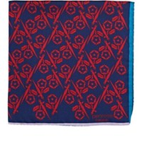 Penrose London Men's Floral Silk Twill Pocket Square Navy