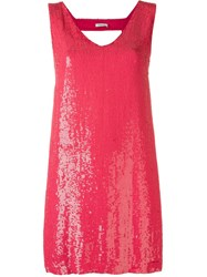 P.A.R.O.S.H. Sequin Embellished Front With Open Back Detail Dress Pink And Purple