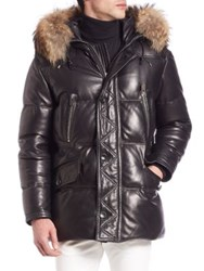 Bally Fur Trimmed Leather Puffer Jacket Black