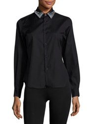Noir Kei Ninomiya Studded Collar Cotton Blouse Black