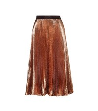 Christopher Kane Pleated Metallic Silk Blend Skirt Brown
