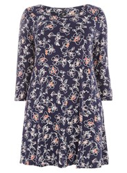 Evans Navy Floral Swing Tunic