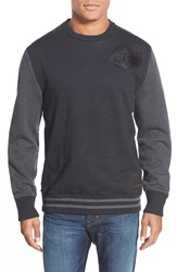 Mitchell Ness 'Los Angeles Lakers' Tailored Fit Crewneck Sweater With Leather Trim Black