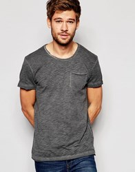 Esprit Oil Wash T Shirt With Raw Edge Black