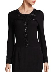 Nanette Lepore Starry Eyed Embellished Merino Wool Cardigan Black
