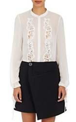 R R Studio By Robert Rodriguez Women's Silk Lace Inset Blouse White