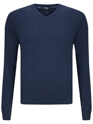 Hackett London Pima Cotton V Neck Jumper Navy