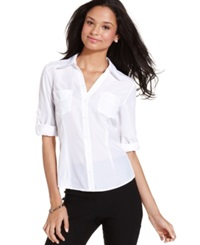 Amy Byer Bcx Juniors' Roll Tab Sleeve Shirt White